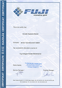 certificate Fuji feederrepair Intec Horvath